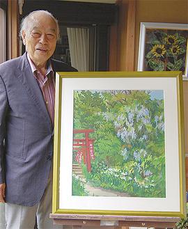 佐助稲荷神社を描いた作品と蓼沼さん