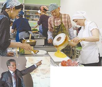 エスカラさんからトウモロコシのピューレの作り方を教わる参加者ら(写真上)。ルーマニアについて解説するシェルバン大使(左)