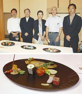「コラボ」の参加者ら(上)と「航 北鎌倉」橋本さんの作品