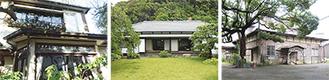 左から吉岡家住宅主屋、鎌倉市吉屋信子記念館主屋、市立御成小学校旧講堂