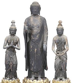 教恩寺蔵 阿弥陀如来及び両脇寺立像(提供:鎌倉国宝館)