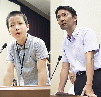 真剣な表情で質問する「議員」と答弁する松尾市長