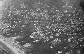 由比ガ浜 撮影大正12年9月7日 横須賀海軍航空隊(防衛研究所)
