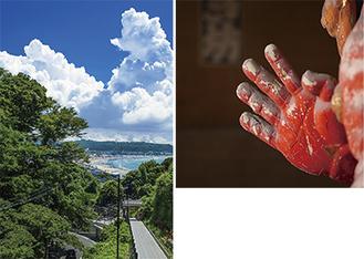 原田さんの作品「杉本寺」(右)と林知道さんの作品