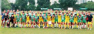 「ゲイランインターナショナルFC」U-19と対戦(黄・青ユニフォームが鎌倉インテル)