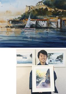スペインの風景を描いた作品『旅立ちの日』(上)と、画家の矢野さん
