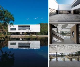 平家池越しに見える南外観(左)と中庭(右上)、内部階段(右中)、ピロティ(右下)