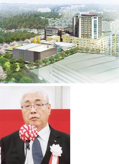 両センターの完成予想図(上)と地鎮祭で挨拶する篠崎院長