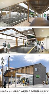上から鎌倉駅ホーム、同駅コンコース、長谷駅外観のイメージ