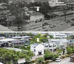 『晩春』のロケ地になった家。上写真が1970年=鎌倉市中央図書館近代史資料室提供=、下写真が現在