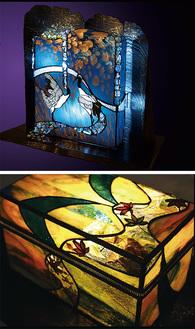 日本の四季を色ガラスで映し出した作品
