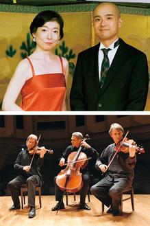 染川さん(左)と佐藤さん=上写真=、チェコ・フィルハーモニー弦楽三重奏団