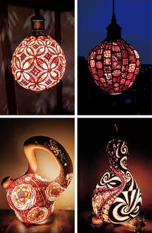 自然素材を生かし幻想的な雰囲気を醸し出すランプ