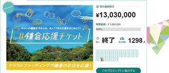 鎌倉応援チケットのネット画面