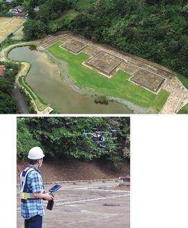 上空約80mから撮影された永福寺跡の映像(上=鎌倉ドローン協会提供)とドローンを操作する会員