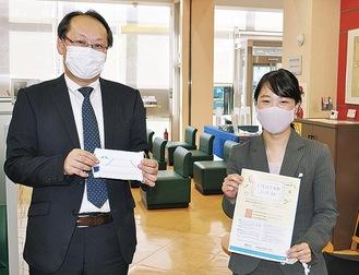 「たくさんの応募を」と話す瀧本支店長(左)と三橋さん