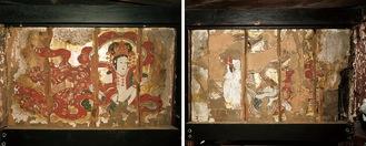 天女が描かれた壁画。金箔が施されているのが分かる=同寺提供