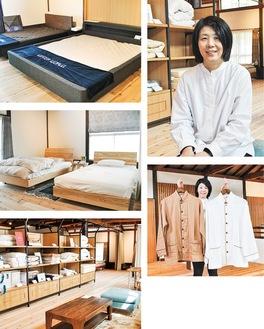 取材に応じてくれた松永店長(右上)。店内には厳選寝具が並ぶ
