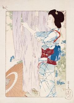 『梅雨晴』(『文藝俱樂部』木版口絵) 1904(明治37)年 同館蔵