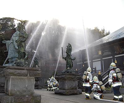 長勝寺で消防訓練