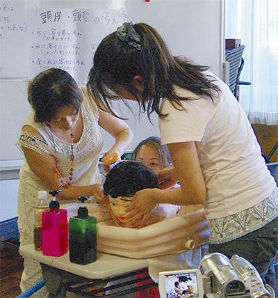 介護者向け 初の洗髪講習