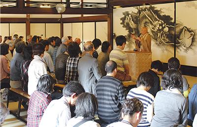 建長寺で県内避難者交流