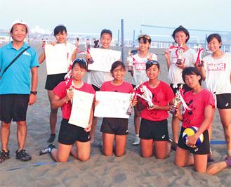 県大会で優勝と準優勝を勝ち取り、「全国優勝」を目指していたメンバーと川上顧問(左)