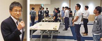松井会長(左)、6月2日に開かれた第一回の交流会(右)