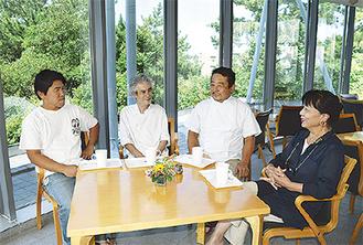 地元の芸術家、職人が協力。左から石井政輝さん、能條津代志さん、山本雅也さん、乃羽ひとみさん