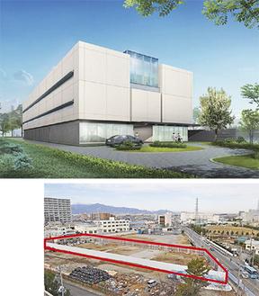 完成イメージ(上)と茅ヶ崎3丁目の建設地