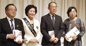 (左から)服部市長、森山会長、水島常務理事、塩崎会長