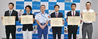 左から檜山さん、小林さん、小澤消防長、大石さん、大森さん、望月さん