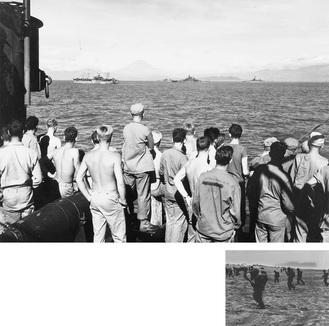 (上)茅ヶ崎海岸での米軍上陸演習。奥に見えるのは江の島(右)茅ヶ崎沖の軍艦上から富士山と湘南平を臨む米兵提供:茅ヶ崎市(米国国立古文書館所蔵)