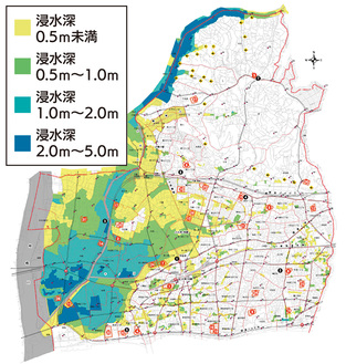 市内全域のハザードマップ