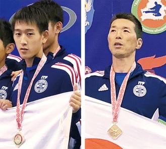 表彰台でメダルを手にする岡田君(左)、平間さん(右)