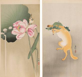 小原古邨『蓮に雀』(左)『踊る狐』(右)