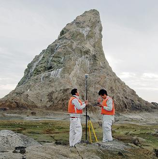 えぼし岩に上陸して計測