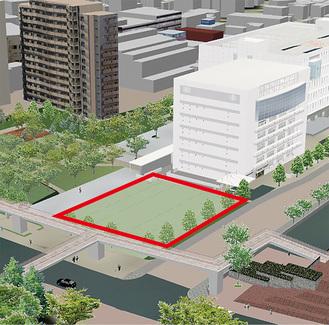 建設予定の仮設庁舎跡地(赤線枠内)