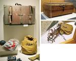槇家の倉庫に保管されていた所蔵品の数々。泥が付着したままのトランクケースやアイゼンなど、貴重な未公開品が多数展示されている。