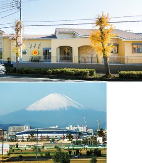 ㊤明るい雰囲気の施設、室内からは富士山が望める