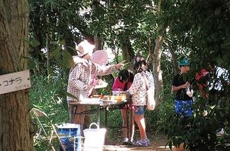 子どもたちが参加した樹木への名札掛け