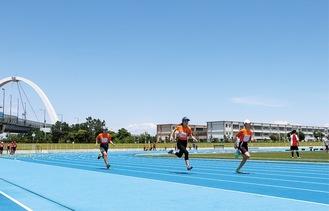2カ月半ぶりに競技場などの利用を再開した柳島スポーツ公園 =20日