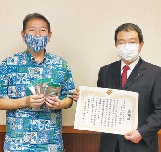佐藤市長(左)と大箭会長