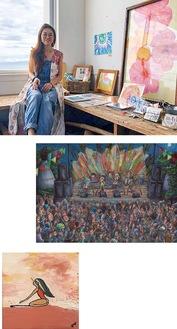 上・水彩画アーティストの田口悦子さん/右・tomioさんの新作/下・yuyuさんの作品