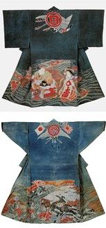 (写真上)浦島・乙姫が描かれた万祝(大正〜昭和初期頃)(写真下)仕事着として使用されたため、袖が筒袖になっている万祝(大正時代)
