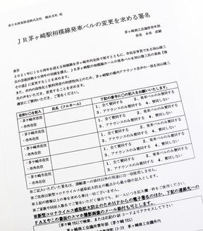 発車ベル変更を求める署名用紙