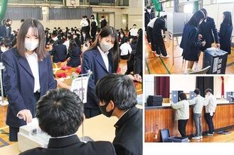 模擬投票する生徒。開票もその場で実施された