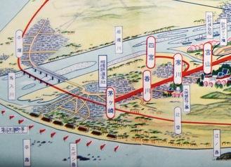 寒川駅からは四之宮駅への支線が伸びる。現在の北茅ヶ崎駅がない頃で、相模鉄道の本社が茅ヶ崎駅前にあった。海水浴場に旗らしきものが並ぶ