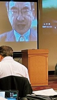 地元経済団体主催の講演会にウェブ登壇した河野氏総裁選への意気込みを語った=9月8日平塚市