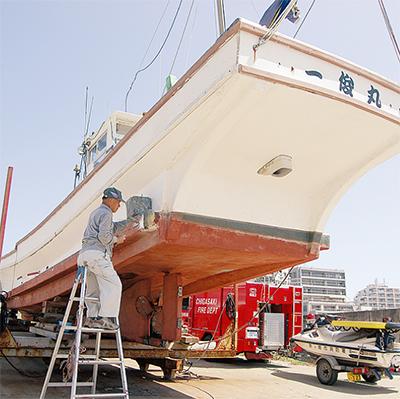 南三陸町に茅ヶ崎の漁船を